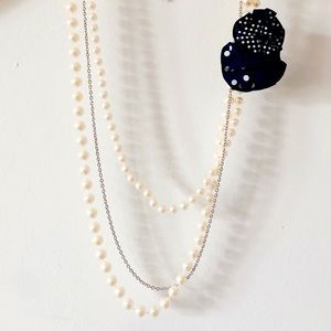 Layered Faux Pearl White Statement Necklace Brooch